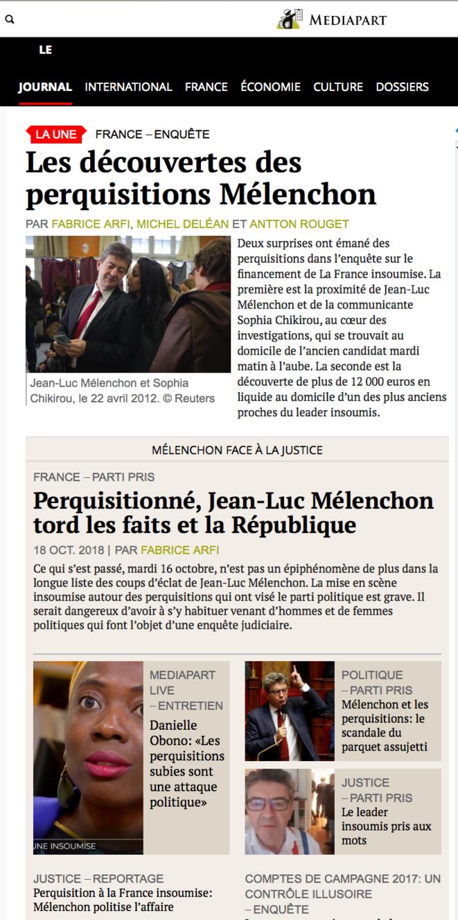 "A la ""une"" de Mediapart"