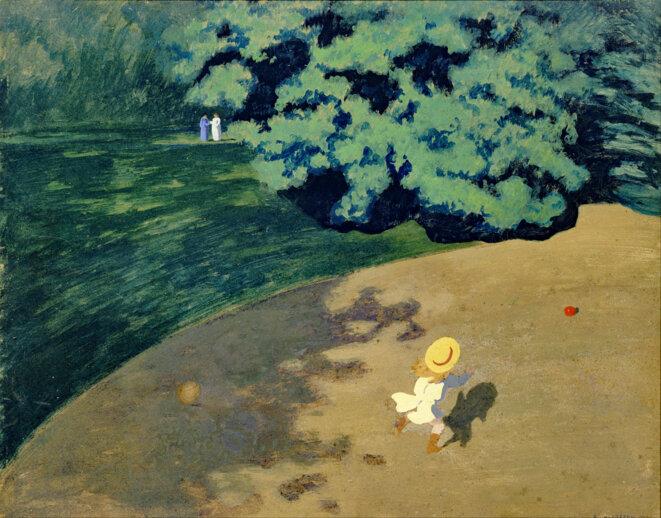 """Félix Vallotton """"Le coin du parc avec enfant jouant au ballon"""" au Musée d'Orsay"""