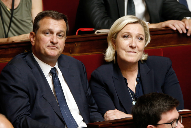 Louis Aliot et Marine Le Pen à l'Assemblée nationale. © Reuters