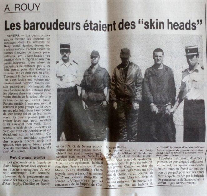 """Article du Journal du Centre du 11 août 1988 """"Les baroudeurs étaient des"""" skinheads"""" © Le Journal du Centre"""