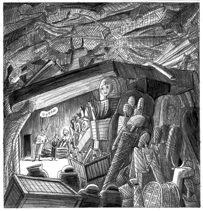 À Gournah, dans l'antre d'un revendeur. Dessin extrait du deuxième volume, p. 37. © Lucie Castel et éditions Flblb