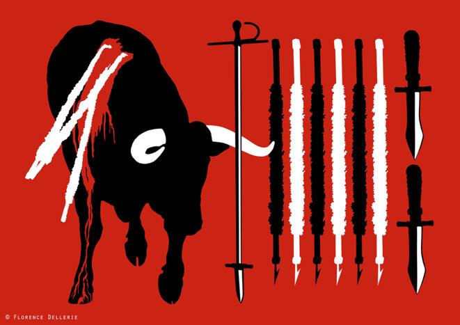 Représentation d'un taureau et de certains des objets utilisés lors d'une corrida : épée (verdugo), banderilles et poignard (puntilla).