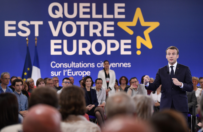 Emmanuel Macron at the launch of the citizens consultation process at Épinal in north-eastern  France on April 17th, 2018. © Élysée