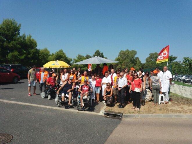Les salariés de Clinea-Orpea en grève pour leurs conditions de salaire, en septembre 2018. © DR