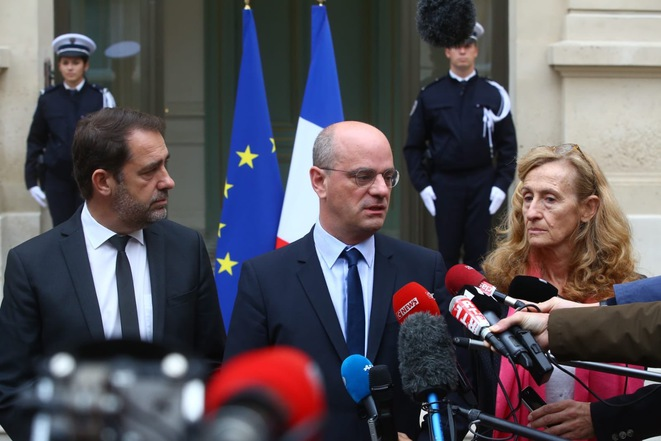 Interior minister Christophe Castaner, left, education minister Jean-Michel Blanquer and justice minister Nicole Belloubet. © @Twitter @jmblanquer