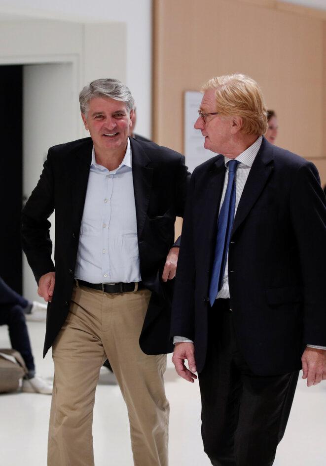 Raoul Weil, ancien numéro trois du groupe UBS, et Patrick de Fayet, ancien directeur général d'UBS France au procès. © Reuters