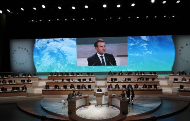 Emmanuel Macron at the One Planet Summit held in Paris in December 2017. © Reuters