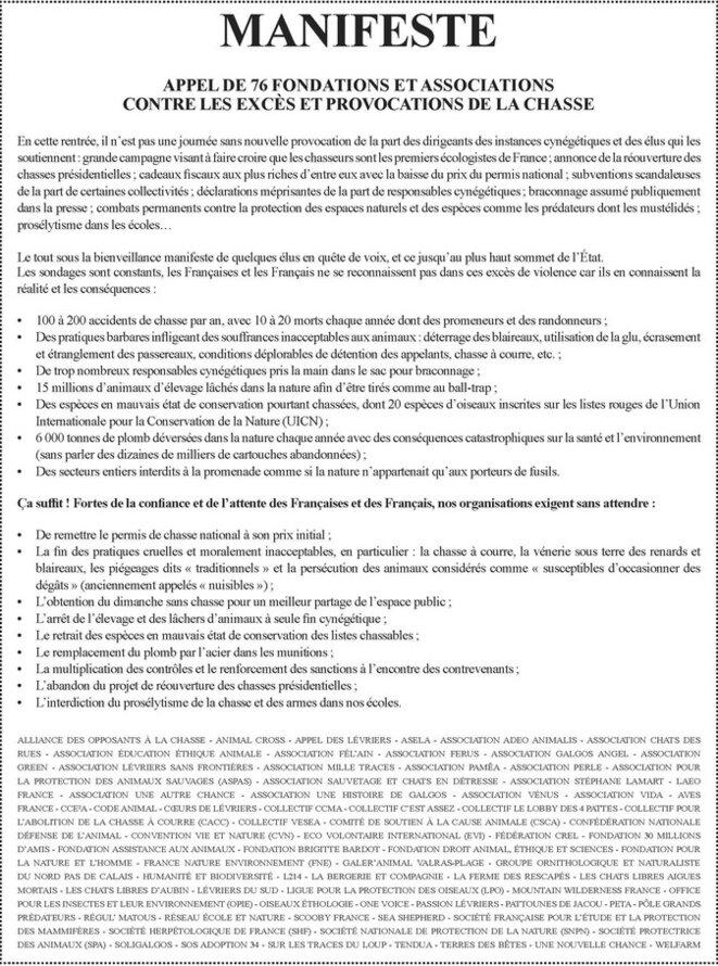 """Appel des 76 fondations et associations contre les """"excès et provocations"""" de la chasse. © Fondation Brigitte Bardot"""