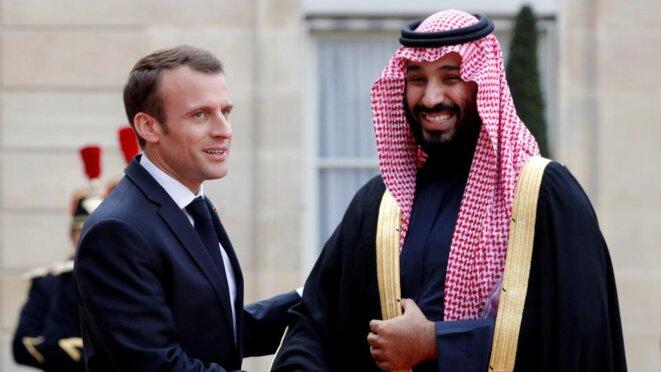 french-president-emmanuel-macron-welcomes-saudi-arabias-crown-prince-mohammed-bin-salman-as-he-arrives-at-the-elysee-palace-in-paris-france-on-april-10-2018-reuters