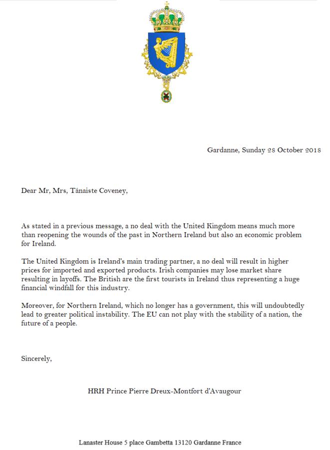 Lettre de SAR le Prince d'Irlande au vice-premier ministre d'Irlande © Prince Pierre Dreux-Montfort d'Avaugour, Prince d'Irlande