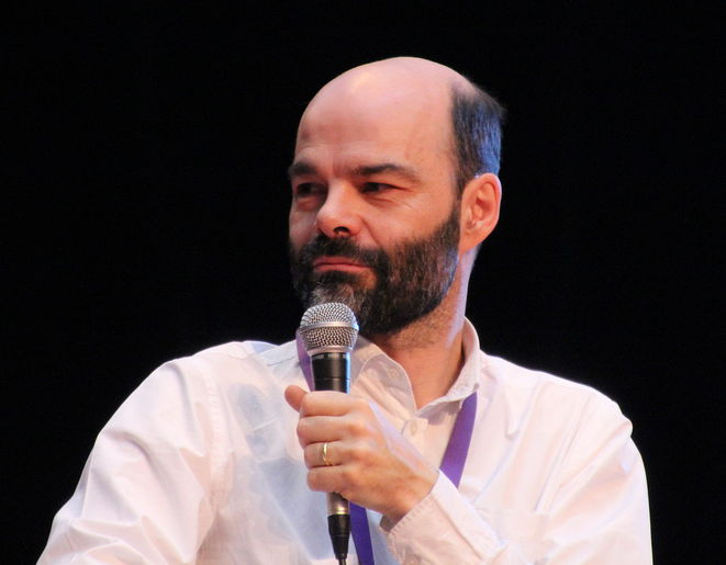 Roland Lehoucq aux Utopiales, en 2013
