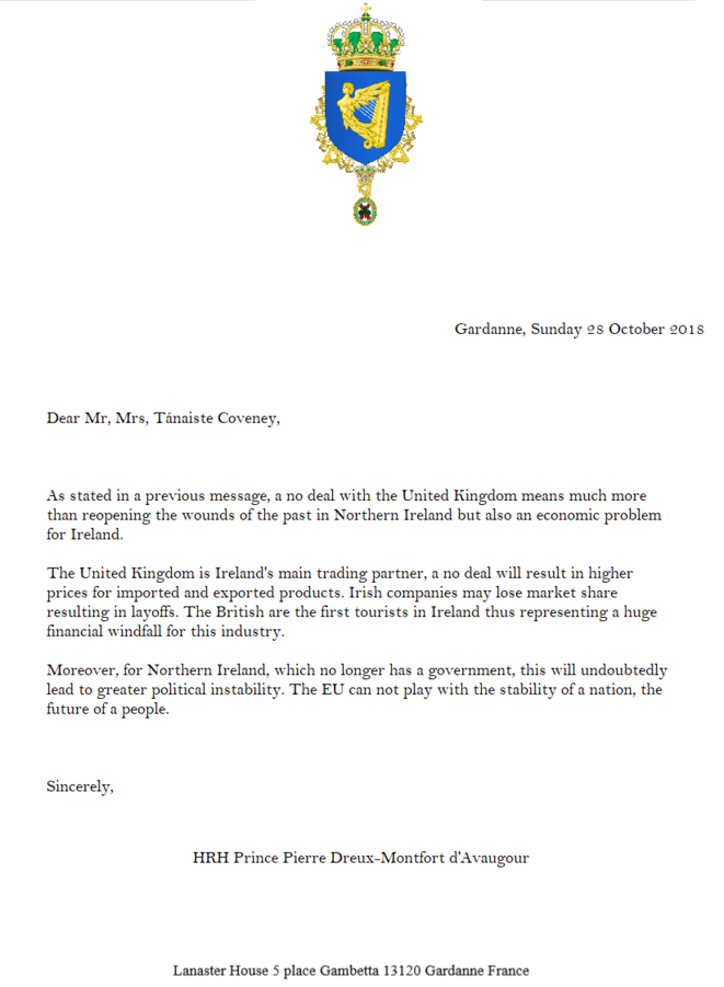 Letter from HRH The Prince of Ireland to the Deputy Prime Minister of Ireland © Prince Pierre Dreux-Montfort d'Avaugour, Prince of Ireland