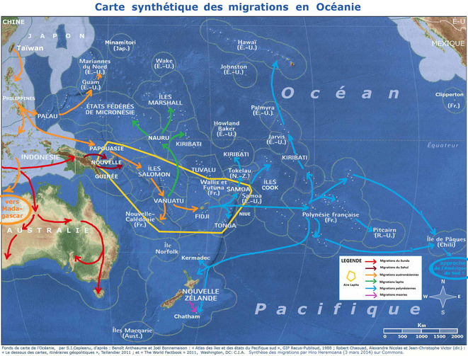 Carte synthétiques des migrations en Océanie © Hiro-Heremoana
