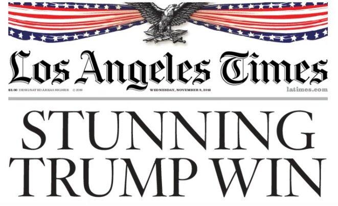 « Une victoire stupéfiante », Une du Los Angeles Times le 9 novembre 2016, au lendemain de l'élection de Donald Trump. © Los Angeles Times