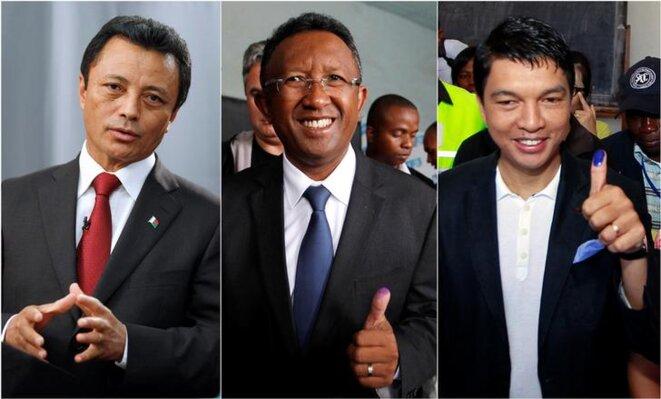 Trois des candidats à la présidence de la République (de gauche à droite) : Marc Ravalomanana, Hery Rajaonarimampianina et Andry Rajoelina. © Reuters