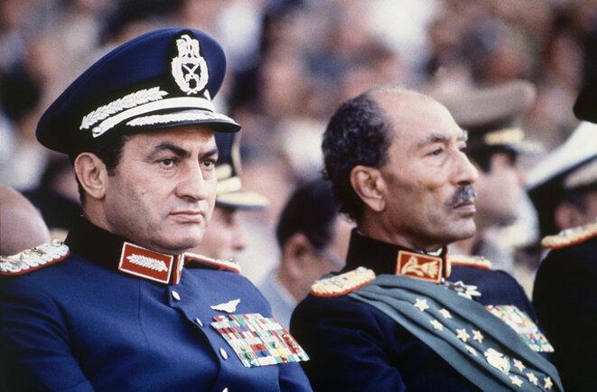 Hosni Moubarak et Anouar el-Sadate, le jour de l'assassinat de ce dernier (6 Octobre 1981)