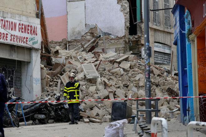 Les immeubles effondrés de la rue d'Aubagne, à Marseille. © Reuters