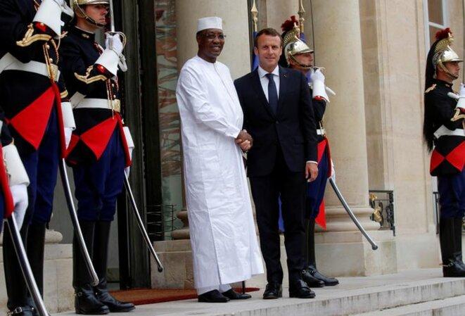 Idriss Déby reçu à l'Élysée par Emmanuel Macron, lors de la conférence sur la Libye, le 29 mai 2018. © Reuters