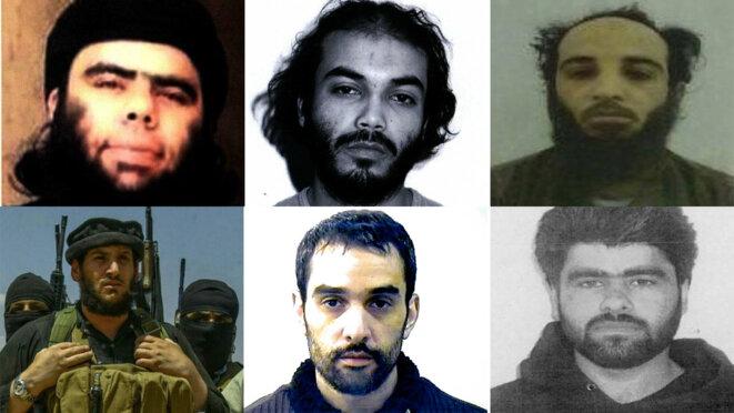 De gauche à droite, première ligne : Abou Walid al-Souri, Boubakeur el-Hakim, Abou Lôqman. Seconde ligne : Abou Mohamed al-Adnani, Oussama Atar et Abou Mahmoud al-Chami. © DR