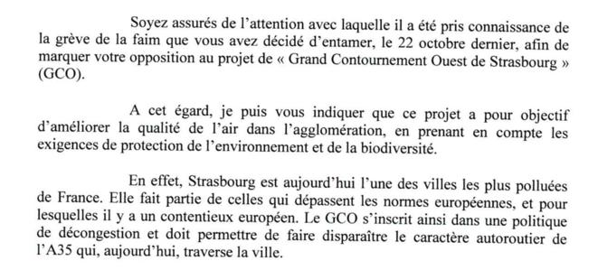 Courrier réponse Cabinet Macron © François-Xavier LAUCH - Chef de cabinet d'Emmanuel Macron