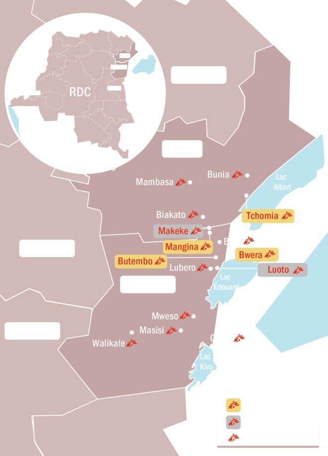 Carte des projets Ebola MSF