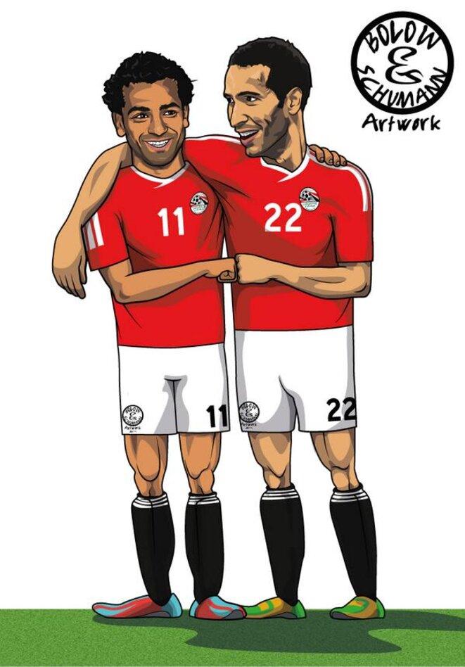 Mohamed Salah (à gauche) et Mohamed Aboutrika