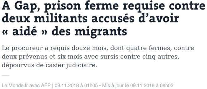 https://www.lemonde.fr/police-justice/article/2018/11/09/prison-requise-contre-les-sept-militants-accuses-d-avoir-aide-des-migrants_5380931_1653578.html