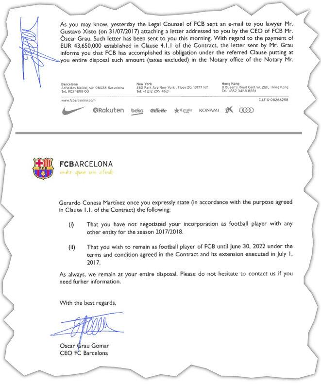 Extracto de la cláusula adicional del contrato de trabajo de 2016 de Neymar con el FC Barcelona, que incluye su prima de prolongación. © EIC