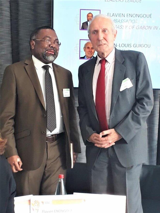 AFRICA INVESTMENTS FORUM & AWARDS 2018 - SEM FLAVIEN ENONGOUE, Ambassadeur Haut Représentant du Gabon en France et le Pr Jean-Louis GUIGOU, Président de l'Institut de Prospective Economique du Monde Méditerranéen (IPEMED)