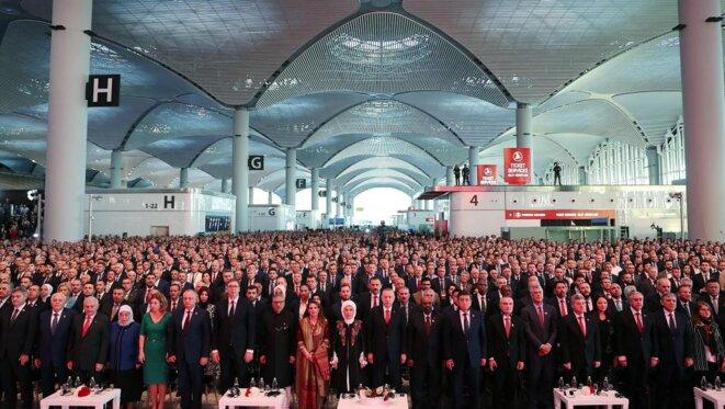 Erdogan lors de l'inauguration partielle du nouvel aéroport d'Istanbul, le 29 octobre. © Reuters