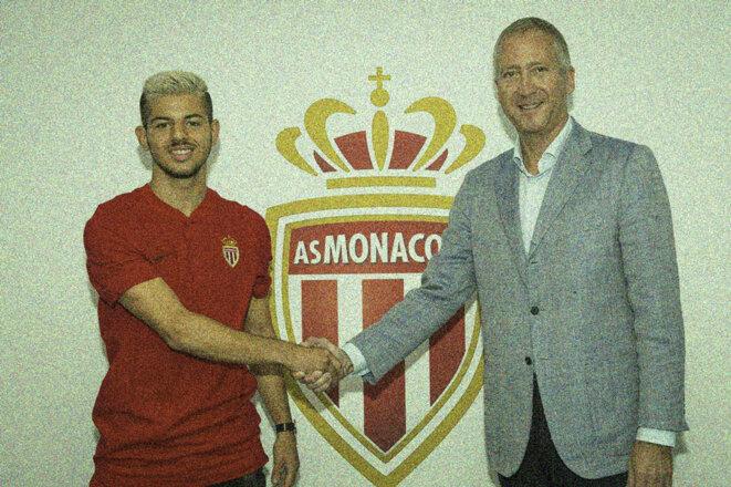 Le numéro 2 de l'AS Monaco Vadim Vasilyev et Adrien Bongiovanni le 28 septembre 2017, lors de la prolongation de son contrat. © ASM