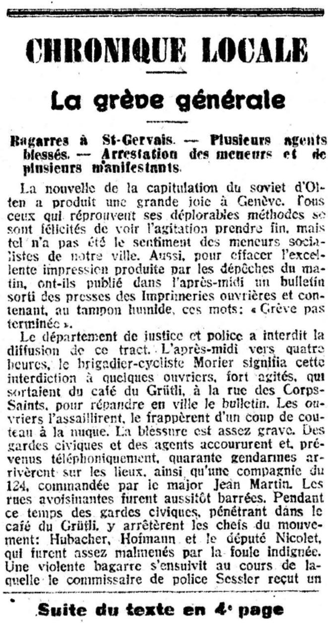 """""""Journal de Genève"""", 15 novembre 1918"""