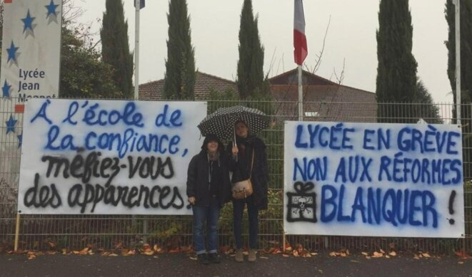 Enseignants grévistes du Lycée Jean Monnet : Non à la réforme BLANQUER © Le collectif non résigné du lycée Jean Monnet