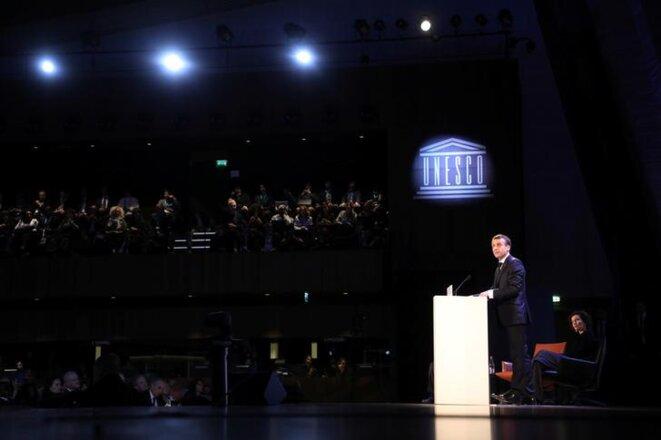 Emmanuel Macron à l'Unesco, lundi 12 novembre 2018. © Reuters