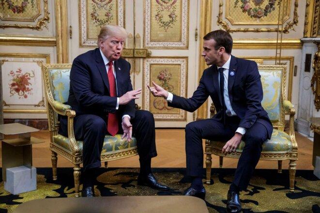 Donald Trump et Emmanuel Macron à l'Élysée le 10 novembre 2018. © Reuters