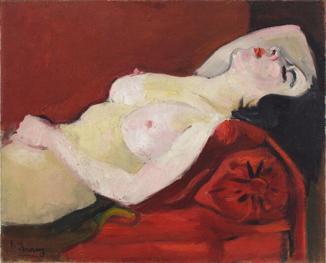 Nu au divan rouge, Emilie Charmy, 1925