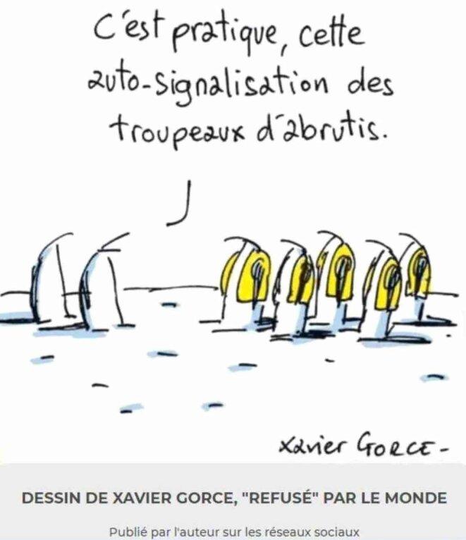 Autosignalisation des troupeaux d'abrutis © Xavier Gorce