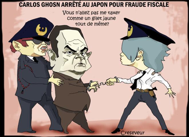 Le dessin du jour (humour en images) - Page 23 Carlos-ghosn-arrete-au-japon