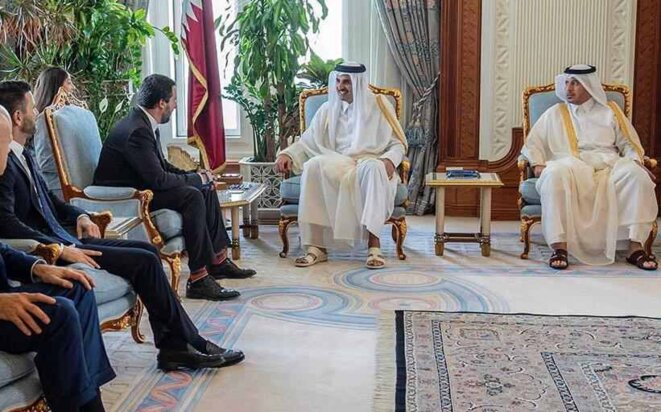 Matteo Salvini avec l'Emir du Qatar