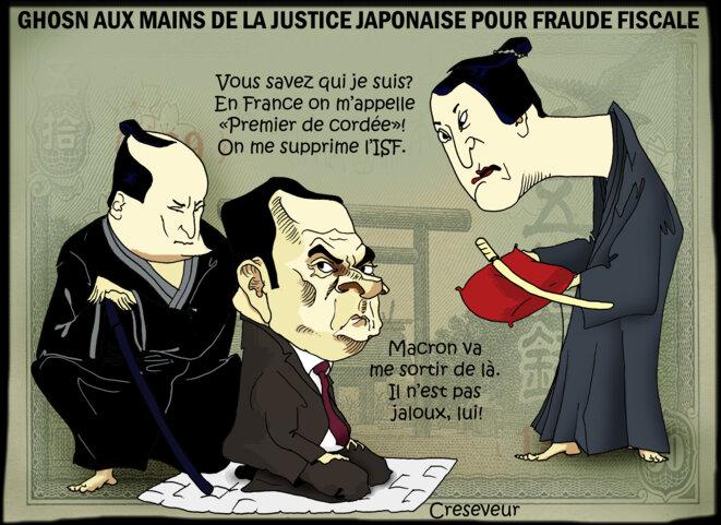 Le dessin du jour (humour en images) - Page 23 Carlos-ghosn-arrete-au-japon-2
