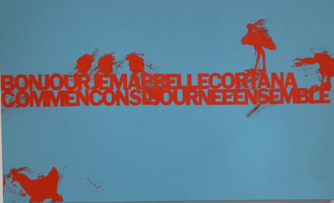 """Sylvie Fanchon, """"BONJOURCOMMENCONS..."""", Acrylique sur toile, 2018 © Sylvie Fanchon; crédit photo: Guillaume Lasserre"""