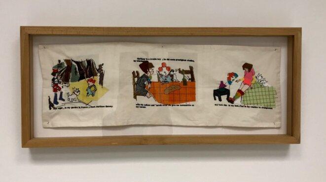 """Corinne Marchetti, """"I meet Matthew Barney (Je rencontre Matthew Barney)"""", 2002, Broderie 23,5 x 70 cm, Collection Frac Franche-Comté © Corinne Marchetti, crédit photo: Guillaume Lasserre"""