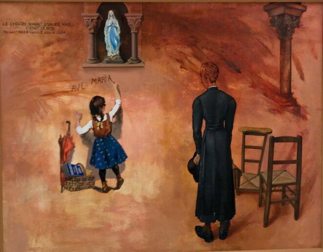"""Alfred Courmes, """"Ave Maria, le Cyclope n'avait qu'un œil mais c'était le bon"""", 1960, Huile sur toile marouflée sur bois, 114 x 146 cm, Collection Frac Franche-Comté © Guillaume Lasserre"""