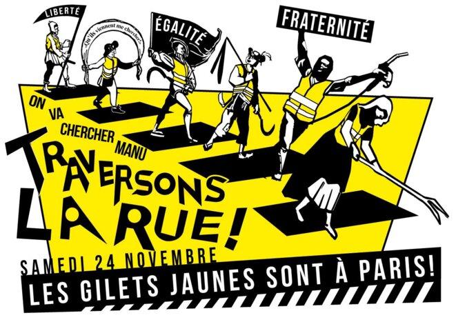 Affiche pour le rassemblement parisien des gilets jaunes du samedi 24 novembre. © olivier long