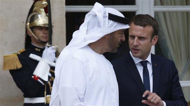 Emmanuel Macronet Mohammed ben Zayed Al Nahyane, prince héritier d'Abou Dhabi