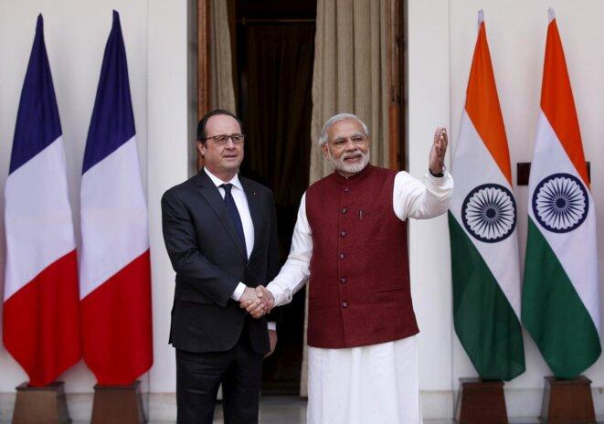 Francois Hollande et Narendra Modi à New Delhi, le 25 janvier 2016. © Adnan Abidi / Reuters