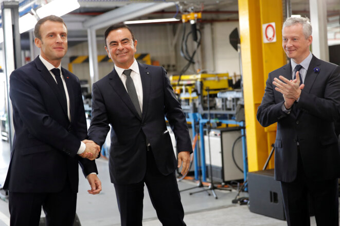 Emmanuel Macron, Carlos Ghosn et Bruno Le Maire à l'usine Renault de Maubeuge, le 8 novembre. © Reuters