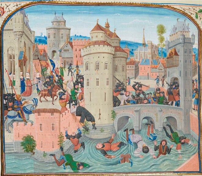 """Bataille de Meaux (1358). Déconfiture des jacques. Froissart, """"Chroniques de France"""", Français 2643, fol. 226v."""