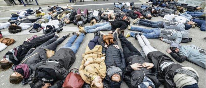 Action des agents hospitaliers du Rouvray, 29 mars 2018 [Ph. Jérôme Lallier, L'Humanité]