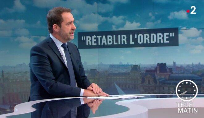 Le ministre de l'intérieur Christophe Castaner sur Télématin, le 20 novembre. © DR